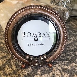BOMBAY round picture frame gold/bronze +crystals